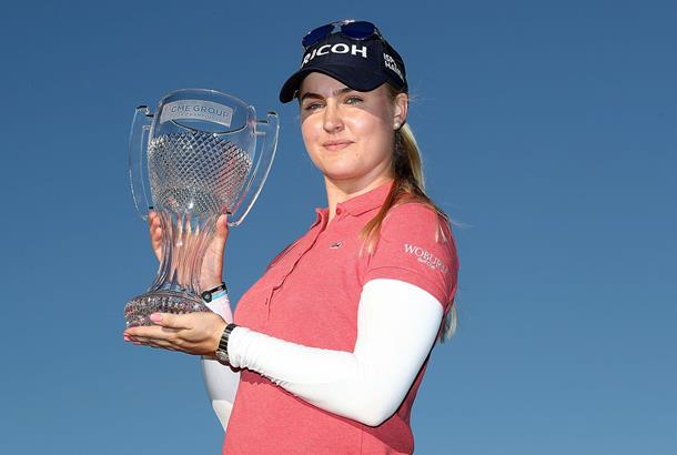 Charley Hull with the CME Tour Championship trophy in November 2016