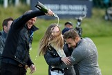 Tyrrell Hatton celebrates winning the Dunhill Links