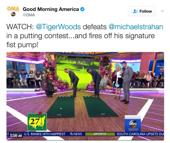 Tiger Woods plays putting contest on GMA