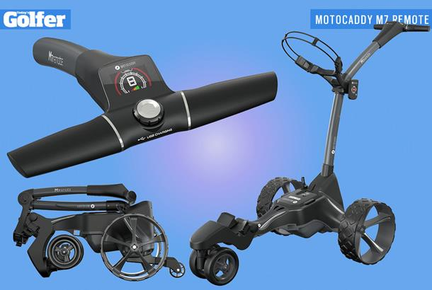 Motocaddy M7 Remote electric golf trolley.