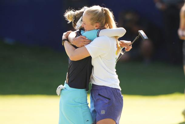 Jessica Korda congratulates younger sister Nelly on her KPMG PGA Championship win.